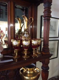 Bohemian Czech Moser Cranberry Glass Set