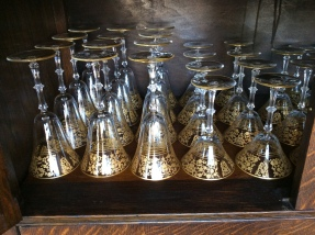 Stunning gold encrusted wine glasses, water glasses and cordials.