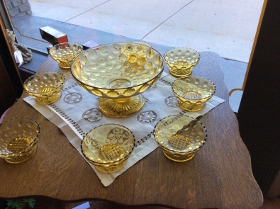 Amber berry dish with individual berry bowls.