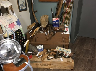 Vintage trunk and ammo box.