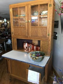 This Hoosier cabinet has enamel drawers!