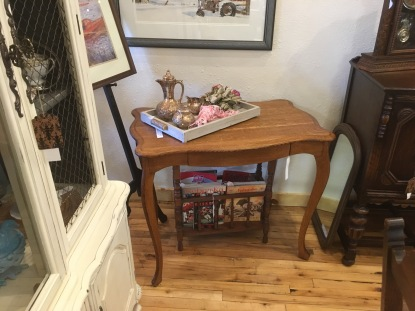 Quartersawn oak desk with cabriole legs.