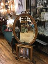 Oval oak mirror. Excellent condition.