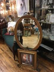 Oval oak mirror. Excellent condition.