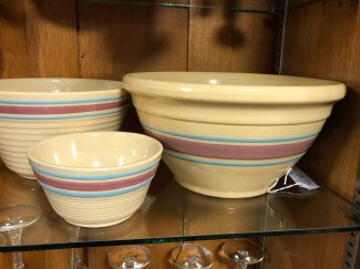 We have a large assortment of pottery bowls, including Metlox, Hull and Watt.
