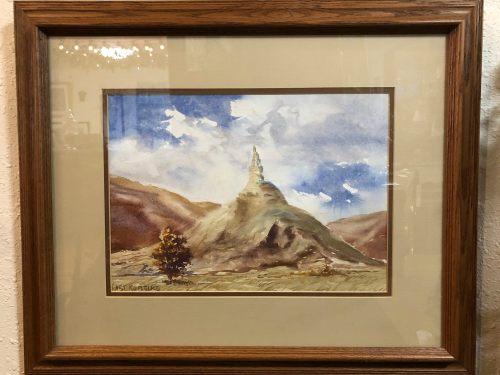 Art Robbins watercolor of Chimney Rock.