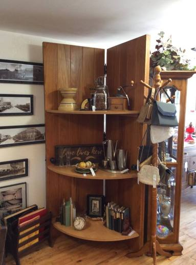 Shelf made from two antique doors from the Methodist Church in Scottsbluff, NE.