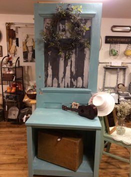Repurposed door makes a beautiful and functional hall stand.