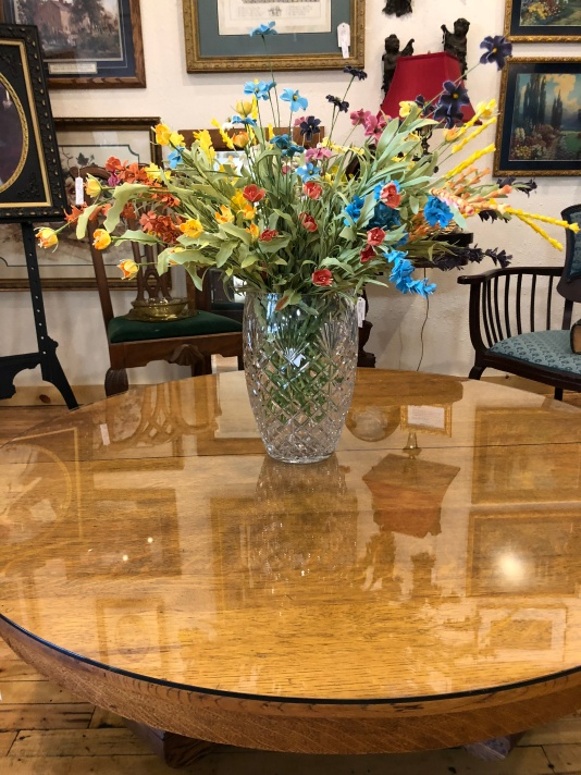 Gorgeous leaded glass vase will make a stunning focal point in your home!