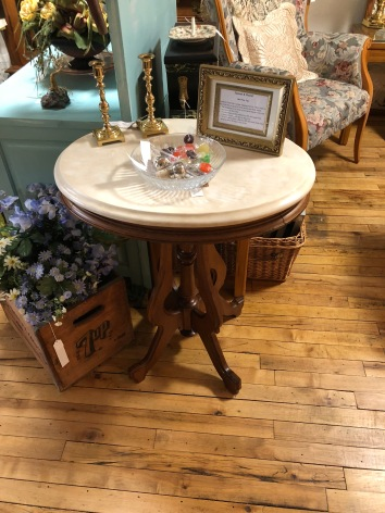 Marble-topped parlor table