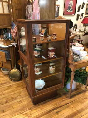 Stunning Vertical Oak Display Cabinet