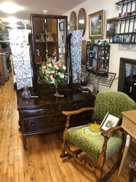 Antique lowboy dresser with mirror.