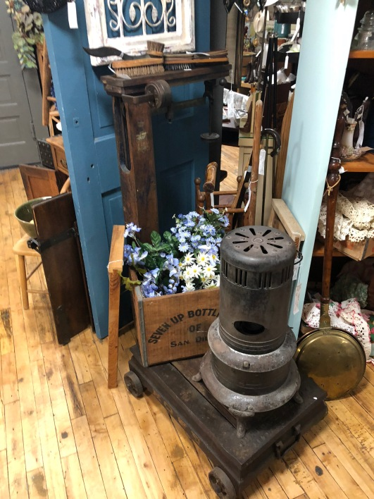 Industrial scale, wooden boxes, Vintage heater