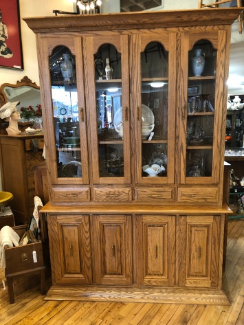 Oak and Glass Door China Cabinet.