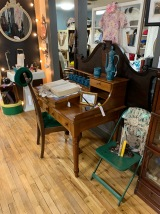 Looking for a writing desK? Early American Lift up top desk.