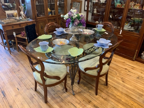Glass Topped Wrought Iron Table