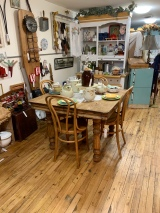 Square Oak Table w/Four Bentwood Chairs