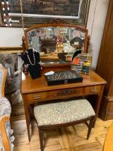 Antique Vanity w/Mirror and Stool