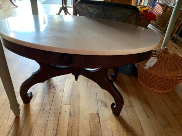 Stunning Mahogany Marble Topped Table