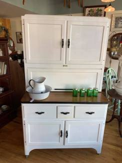 Hoosier Cabinet w/stained wood top