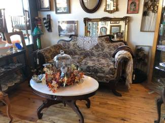 Beautiful Settee with Marble-topped table