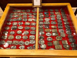Large Belt Buckle Collection. Display cabinet available.