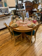 Round oak table with Bent wood chairs