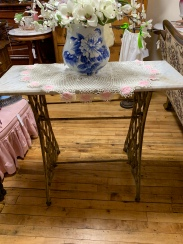 Rescued Cast Iron Sewing Machine Leg Table with Marble Top.