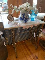 Marble on Top of Vintage Sewing Machine Legs!