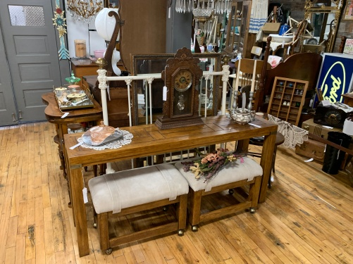 MCM table with Rolling Stools