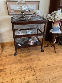 Unique Vintage Rolling Tea Cart